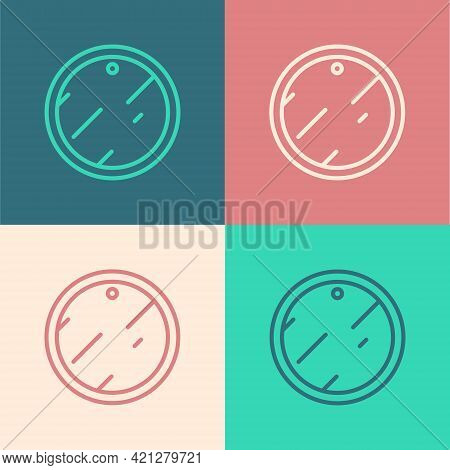 Pop Art Line Cutting Board Icon Isolated On Color Background. Chopping Board Symbol. Vector
