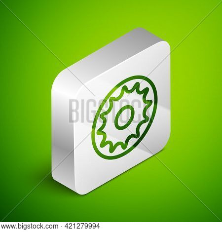 Isometric Line Chakra Icon Isolated On Green Background. Silver Square Button. Vector