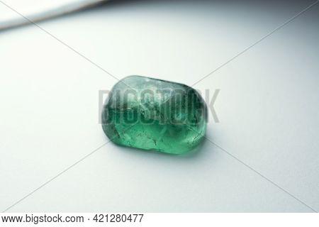 Genuine, Natural Neon Green Color Apatite Raw Rough Uneven Cabochone Shaped Piece Specimen For Makin