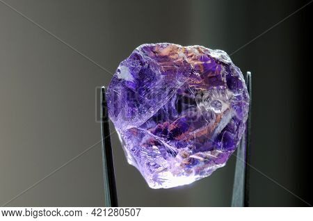 Natural Mined Unheated Bolivian Bicolor Yellow Purple Ametrine Raw Rough Crystal Gem In Tweezers Clo