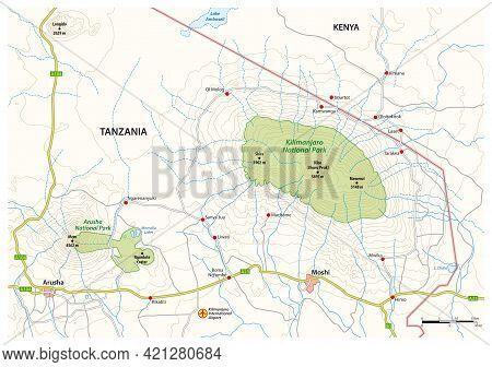 Map Of The Surroundings Of Kilimanjaro National Park, Tanzania
