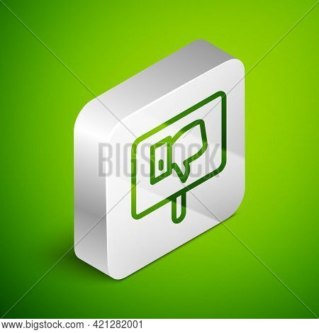 Isometric Line Protest Icon Isolated On Green Background. Meeting, Protester, Picket, Speech, Banner