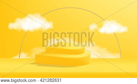 Background 3d Studio Room With Podium In Geometry Shape With White Cloud On Yellow Wall. Blank Showc