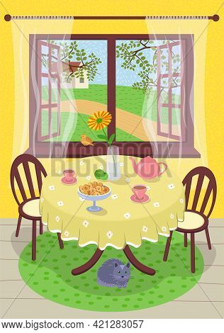 Summer Hand Drawn Poster Calm Comfortable Rest Village Home. Cozy Summertime Tea In Interior Country