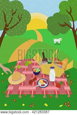 Summer Picnic In Setting Sun Nature. Lawn, Hills And Trees, Cow Grazes Meadow. Blanket With Food And