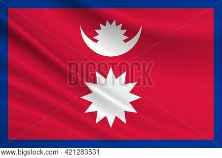 Flag Of Nepal. Fabric Texture Of The Flag Of Nepal.