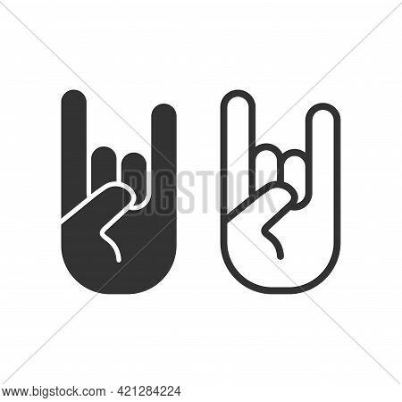 Rock Hand Gesture Icon. Devil Horns Sign. Heavy Metal Music Symbol. Mouse Click Cursor Logo Silhouet