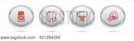 Set Line Painkiller Tablet, Broken Tooth, Dental Implant And Tooth. Silver Circle Button. Vector