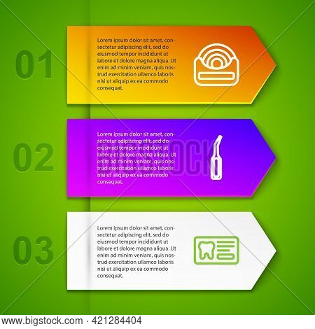 Set Line Dental Floss, Explorer Scaler, Card And . Business Infographic Template. Vector