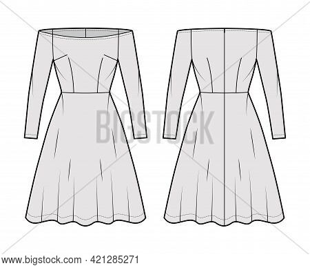 Dress Off-shoulder Bardot Technical Fashion Illustration With Long Sleeves, Fitted Body, Knee Length