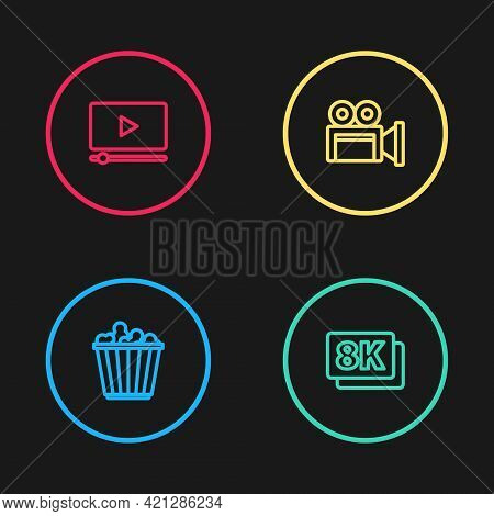 Set Line Popcorn In Box, 8k Ultra Hd, Cinema Camera And Online Play Video Icon. Vector