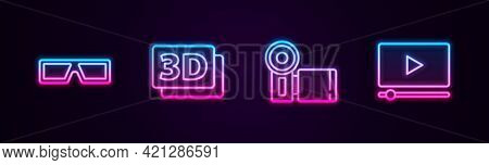 Set Line 3d Cinema Glasses, Word, Cinema Camera And Online Play Video. Glowing Neon Icon. Vector