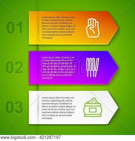 Set Line Indian Symbol Hand, Aroma Sticks, Incense, And Taj Mahal. Business Infographic Template. Ve
