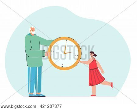 Grandfather And Little Girl Holding Giant Watch Together. Flat Vector Illustration. Tiny Cartoon Old
