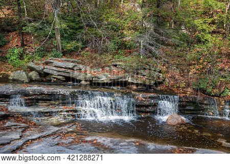 A Small Waterfall Over Bedrock In Minnewaska State Park In Upstate New York.
