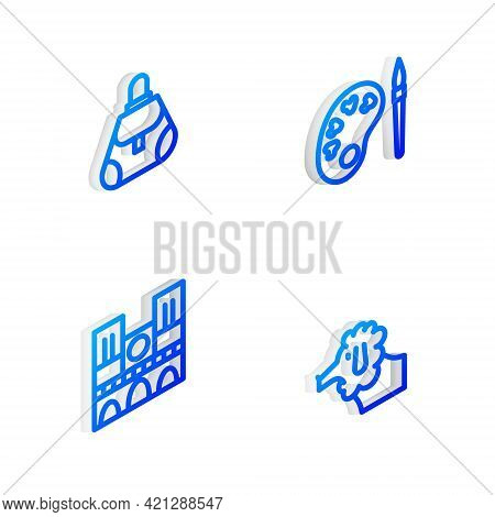 Set Isometric Line Paint Brush With Palette, Handbag, Notre Dame And Poodle Dog Icon. Vector