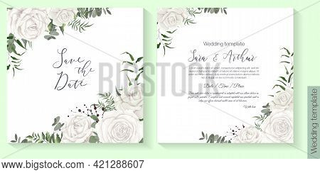 Vector Floral Template For Wedding Invitation. White Roses, Eucalyptus, Green Plants And Herbs.