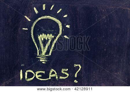 Brainstorming, Funny Lightbulb On Blackboard