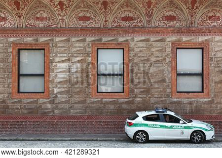 Milan, Italy - July 20, 2015: Local Police Car In Milan, Italy