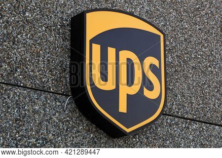 Holme, Denmark - June 5, 2019: Ups Logo On A Facade. United Parcel Service Is The Worlds Largest Pac