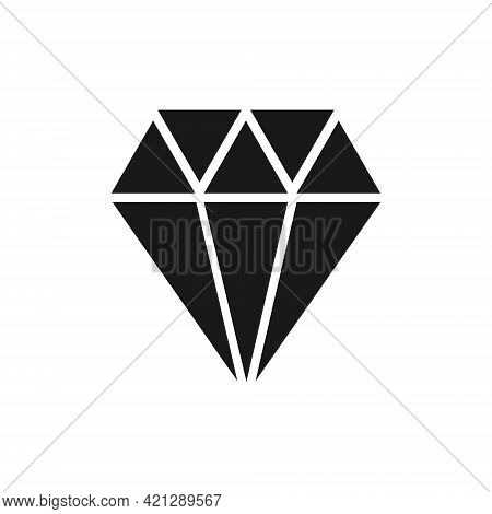 Diamond Black Icon. Jewelry Symbol. Cristal Shape Sign. Gemstone Silhouette. Vector Illustration Iso