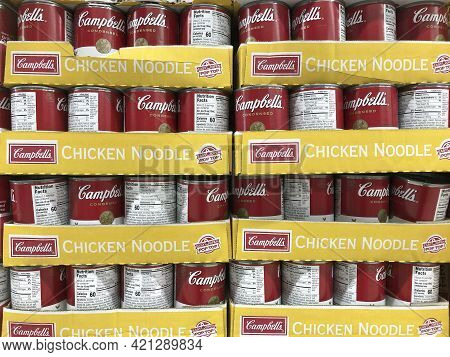 Indianapolis - Circa May 2021: Campbells Chicken Noodle Soup Display. If Someone Isn't Feeling Well,