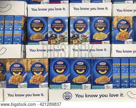 Indianapolis - Circa May 2021: Kraft Macaroni And Cheese Display. Kraft Sells One Million Boxes Of M