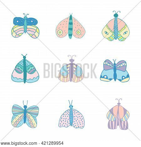 Vector Set Of Isolated Butterflies In Pastel Colors On White Background. For Invitations, Greeting C