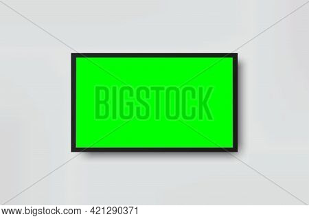 Realistic Tv Lcd Screen Mockup. Panel With Green Screen Isolated On Background. Vector Illustration