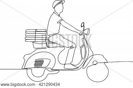 Food Delivery Man Riding A Scooter Pizza Shipping Fast Delivery Man Riding Motorcycle Icon Symbol Pi
