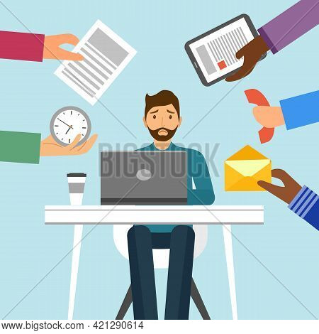 Businessman Work Hard And Busy At Office In Flat Design. Company Employee Working Overtime.
