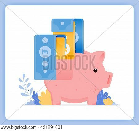 Vector Illustration Of Pink Piggy Bank With Bank Note Being Issued. Open Investment Savings. Vector