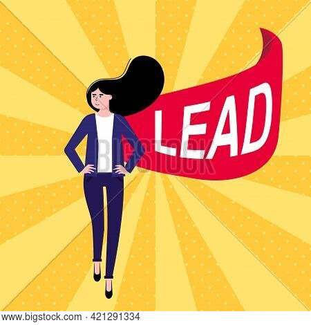 Successful Woman, Leader, Business Woman In Suit And Red Cape With Lead Flat Style Design Vector Ill