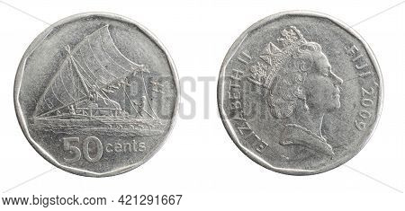 Fiji Fifty Cents Coin On White Isolated Background
