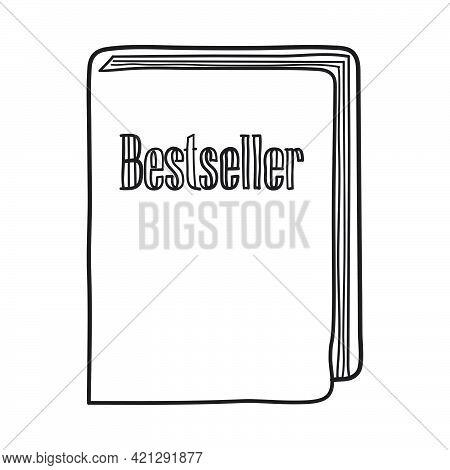 Bestseller Book Icon. Hand Drawn Sketch Design. Vector Illustration.