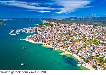 Town Of Pirovac Coastline Aerial View, Dalmatia Archipelago Of Adriatic Sea In Croatia