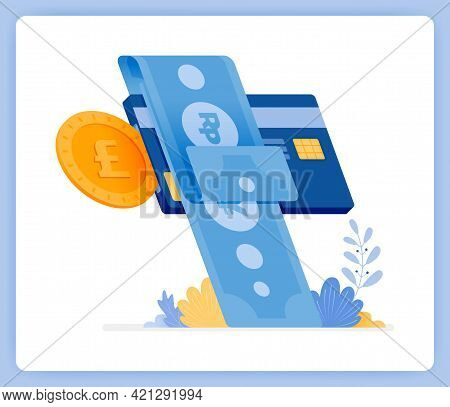 Vector Illustration Of Instant Monthly Credit Card Bill Payments. Financial Loans. Vector Illustrati