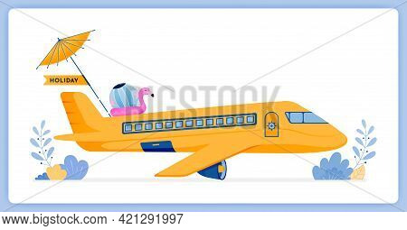 Vector Illustration Of Commercial Passenger Plane Flying To Tropical Island For Vacation. Vector Ill