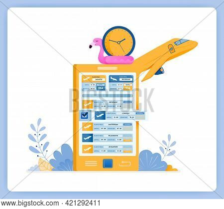 Vector Illustration Of Schedule For Purchasing Flight Tickets With Travel Agency Apps. Vector Illust