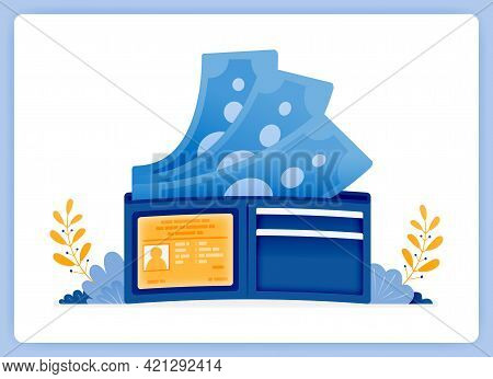Vector Illustration Of Wallet With Money Flying. Save Money In A Traditional Way. Vector Illustratio