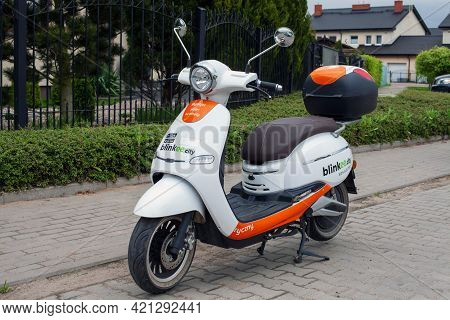 Poland, Poznan - May 08, 2021: Blinkee City Electric Scooters For Rental Using A Dedicated Mobile Ap