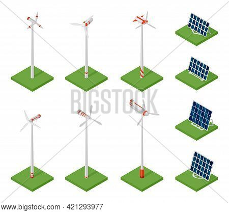 Isometric Solar Panels And Wind Turbines. Concept Of Clean Energy. Clean Ecological Power. Eco Renew