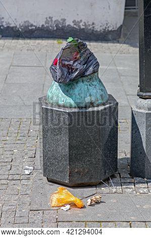 Litter Trash Bin Garbage Waste At Street In City
