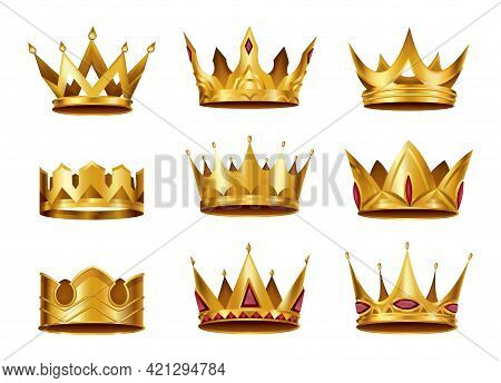 Collection Of Realistic Golden Crowns. Crowning Headdress For King Or Queen. Royal Noble Aristocrat