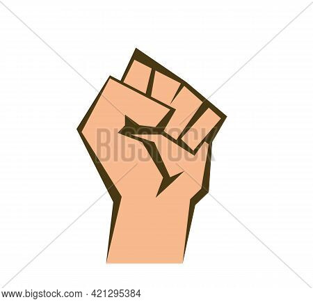 Raised Fist On White Background. Vector A Clenched Fist. Beige Outline And Fill. Eps 10. Vector Illu