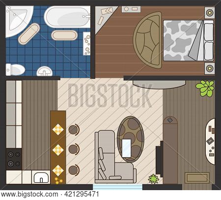 Interior Plan In Color. Detailed Apartment Furniture Overhead Top View. Room In Flat Style. House Fl