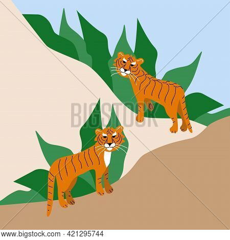 Two Hand Drawn Wild Tigers On Abstract Background With Green Leaves. Save Wild Animals Poster, Prote