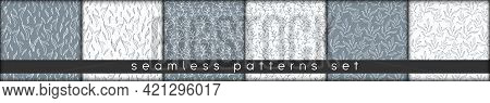 Doodle Seamless Patterns Of Natural Eco Hand Drawn Lineart Minimalist Elements. Monochrome Design Fo