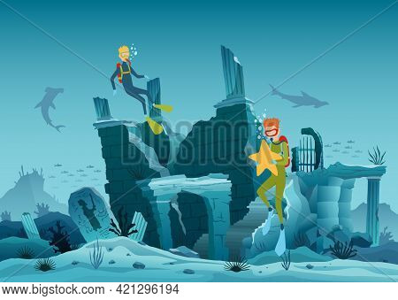 Underwater Ruins Of The Old City. Diver Explorers And Reef Underwater Wildlife. Silhouette Of Coral