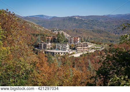 Mountain View Of Medieval Borgo Orvinio In Lazio, Italy